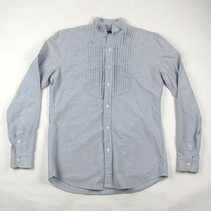 RALPH LAUREN RUGBY Blue Wingtip Tuxedo Shirt M